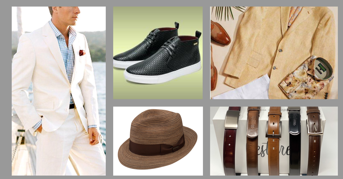 White Suite, Shoes, Hat, Watches, and Jacket